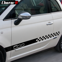2pcs Car Styling Side Skirt Sill Racing Stripes Decal Stickers for Fiat 500 Checker Flag Style Graphic Door