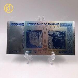 Image 3 - Hot Bán 1000 Mảnh Đầy Màu Sắc Sivler/Gold Foil Tiền Giấy Zimbabwe Bạc Tiền Giấy Với Giấy Hộp Gỗ Cho Mã Tiền giả