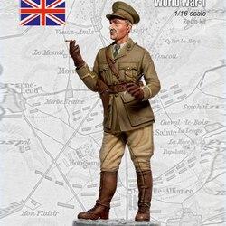 1/16 escala figura de resina wwi oficial britânico 120mm