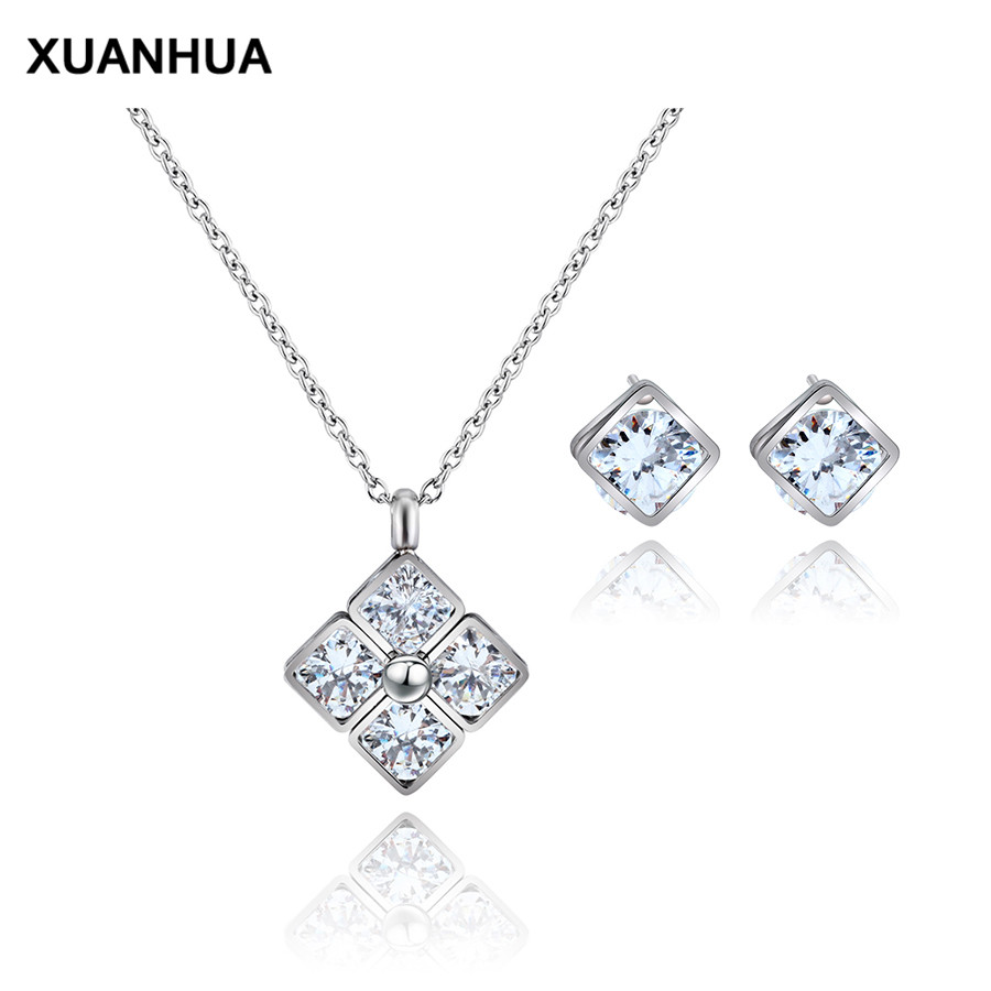 XUANHUA Fashion Hao Stone Earrings Titanium Steel Stainless Steel Pendant Necklace Jewelry Suit Gift