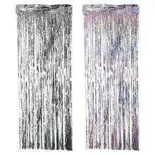 2 м Серебряная/разноцветная фольга с блестками занавеска с бахромой для дождя свадебный фон украшение на день рождения украшение на годовщину