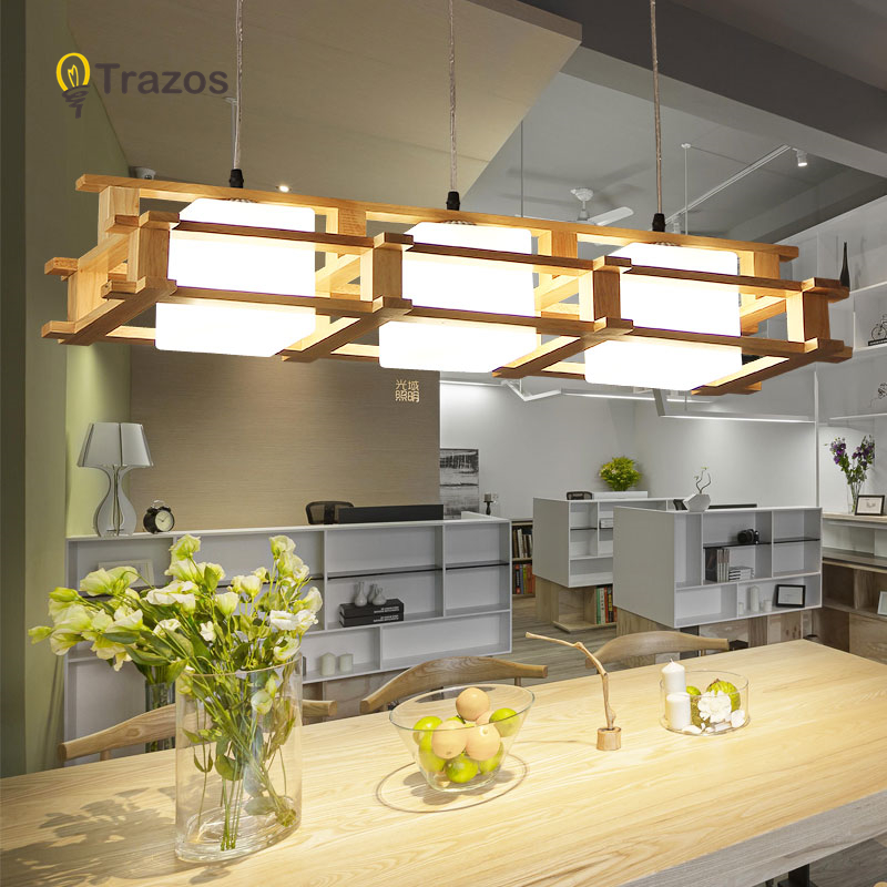 TRAZOS Wooden LED Pendant Lights For Dining Room Two Wooden Round Lustre Wood Kitchen Luminaire Dinning Table Hanging Lamp