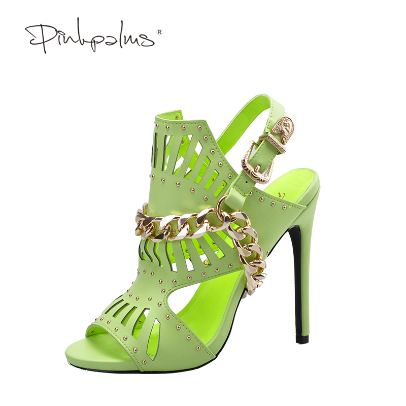 Pink Palms 2017 women summer shoes high heels lime novelty hollow out metal chain punk classics party ladies women sandals punk style solid color hollow out body chain for women