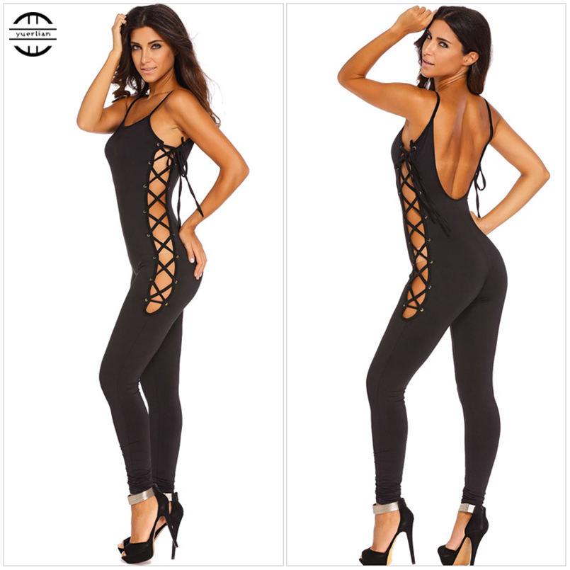 YEL 2017 Sexy Girls Backless Playsuit Fitness Costume Yoga Sport Suit Gym Tracksuit For Women One Piece Bodysuit Tights Jumpsuit