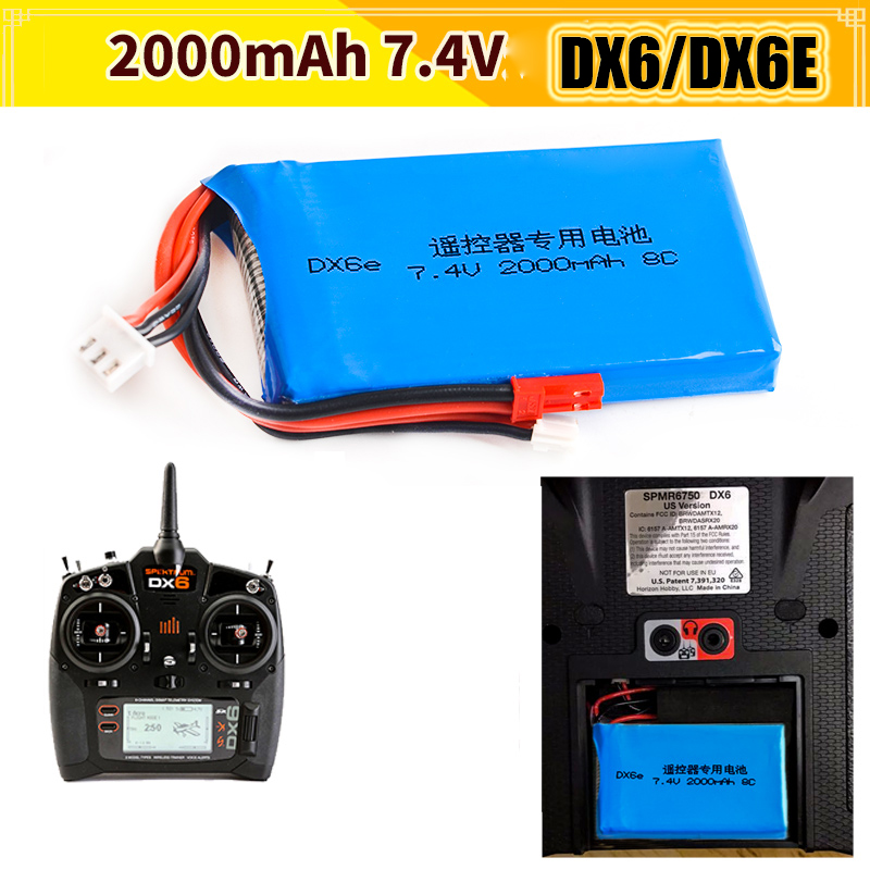 2017 DXF New Arrived RC Battery 1pcs Li-Polymer <font><b>lipo</b></font> battery Spektrum dx6e DX6 <font><b>2S</b></font> 7.4V <font><b>2000MAH</b></font> 8c Transmitter image