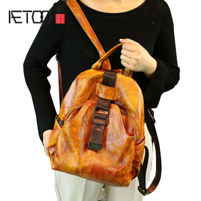 AETOO Retro bag new college wind leather leather backpack wild British wind leather shoulder bag aetoo original shoulder bag leather retro backpack business computer bag head layer leather travel male bag college wind