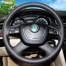 Shining wheat Hand-stitched Black Leather Steering Wheel Cover for  Skoda Octavia Octavia a5 a 5 Superb 2012-2013