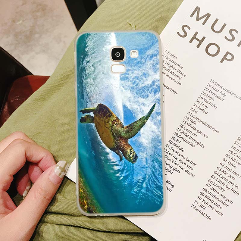 Silicone Phone Case Fashion Sea turtle Tortoise for Samsung Galaxy j8 j7 j6 j5 j4 j3 Plus Prime 2018 2017 2016 Case Matte Cover in Fitted Cases from Cellphones Telecommunications