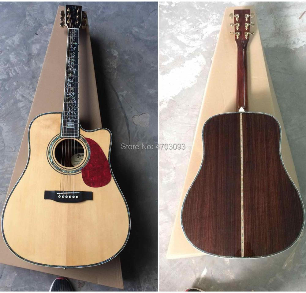 2019 Top Quality Factory Cutaway 41 inches D style Acousitc Guitar,AAA Solid spruce top Electric Guitar,Free Shipping(China)