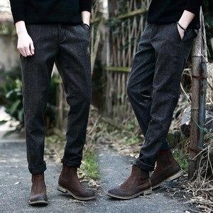 Image 5 - Мужские Винтажные брюки в британском стиле, клетчатые шерстяные брюки, облегающие плотные теплые шерстяные повседневные брюки, A5096