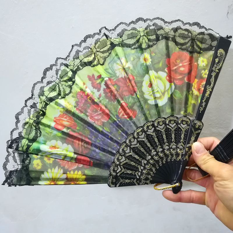 Black Cloth Lace Folding Hand Fan for Woman Home Decor Wedding Events Party Supplies Gift