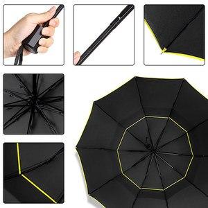 Image 5 - 130 Cm Dubbele Sterke Wind Slip Paraplu Regen Vrouwen Grote Opvouwbare Non Automatische Paraplu Mannen Familie Reizen Business Paraguas