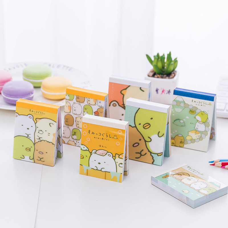 100 Sheets /Pack  Sumikko Gurashi Portable Memo Pads Small Notebook School Office Supply Stationery