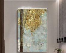 Large size handmade Oil Painting Modern Abstract golden trees art for home decor wall pictures