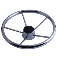 5 spoke stainless steel steer wheel mirror polished marine for boat yacht 13.5""