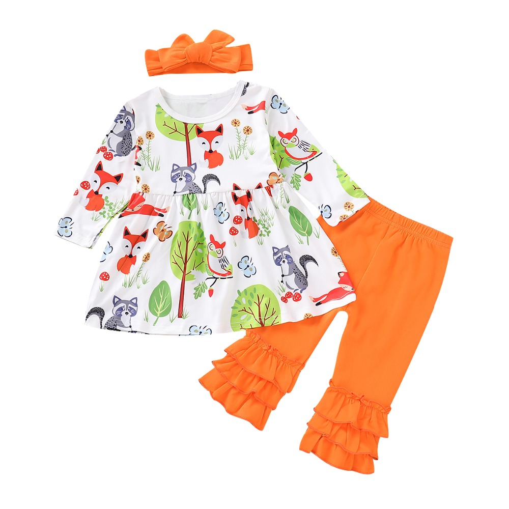Constructive Puseky Kids Toddler Baby Girl Clothes Sets Fox Tree Print Dress Tops Mother & Kids Long Pants Legging Headband 3pcs Autumn Clothing Outfits Rich And Magnificent