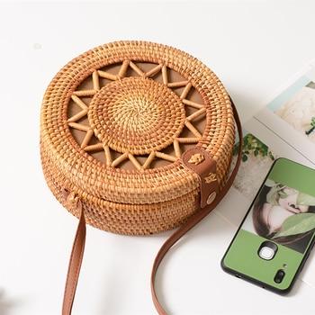 Rattan Bags for Women 2019 Hollow Out Shoulder Bag Ladies Wooden Beach Handbags Travel Cross body Strap Bag 4