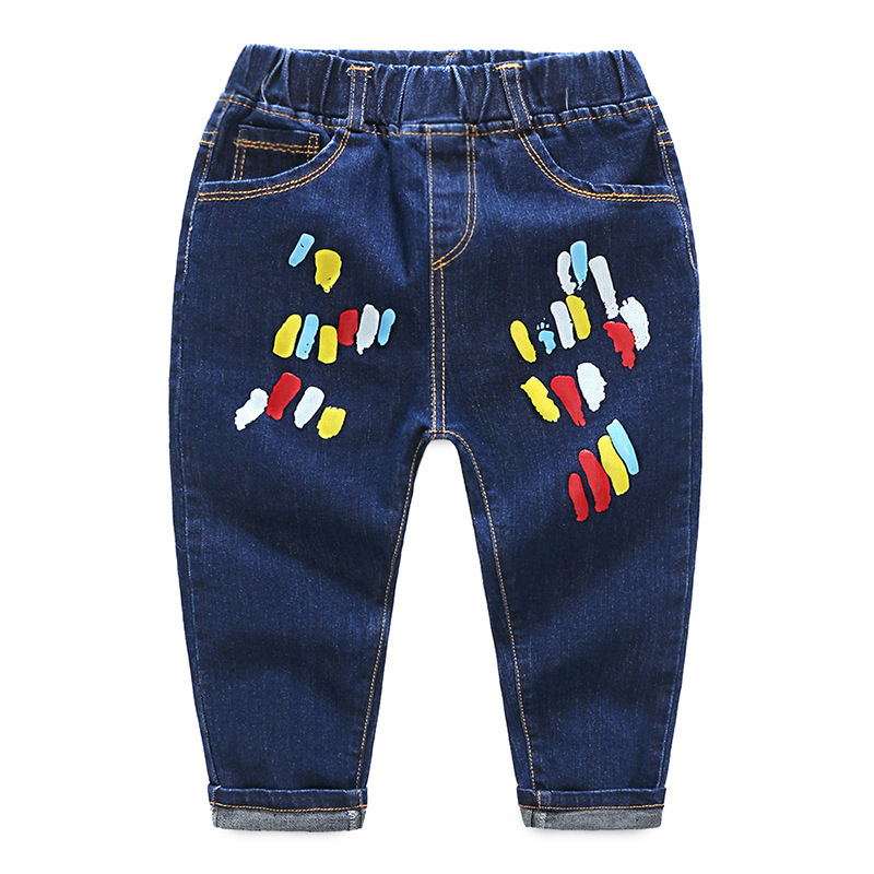 2018 Casual Printed Pattern Baby Girls Jeans Pants Boys Skinny Jeans Denim Jeans For Girls Kids Pants Joggers Boys Clothes 6Yrs