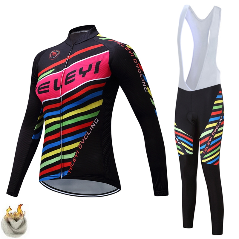 teleyi Cycling Set Women Winter Thermal Fleece Long Sleeves Cycling Jerseys Ropa Maillot Ciclismo Bicycle Bike Cycling Clothing