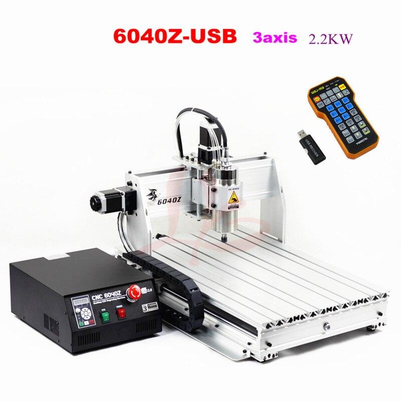 CNC 6040 2.2KW 3 axes passe-temps de bureau mini aluminium CNC routeur machine avec télécommande mach3