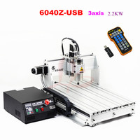 CNC 6040 2.2KW 3 axis hobby desktop mini aluminum cnc router machine with mach3 remote control