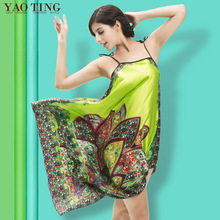 2017 Women Summer Folk Style Homewear India Nightgown Sexy Slip Nightdress Imitation Silk Dress Silky Sleepwear Green Sleepshirt