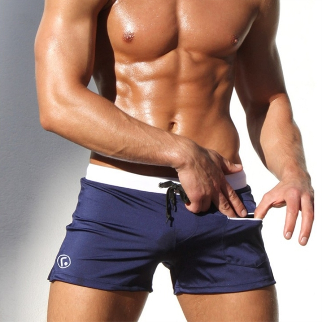 fb189f3ab5 Men Swimwear Tight Mens Swimsuits Low-Rise Men's Swimming Trunks Bathing  Suits With Zip Pockets Sexy Male Briefs Beaching Wears