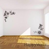 Flowers Wall Stickers Corner Flower Wall Decals DIY Beautiful Flower Wines Wall Decor Flowers Wallpapers Hot