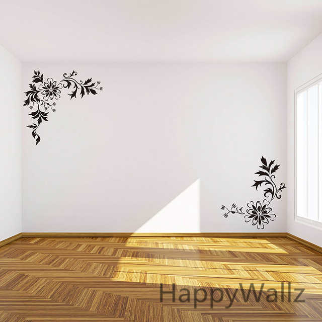 Flowers Wall Sticker Corner Flower Wall Decal DIY Beautiful Flower Wines Wall Decor Flowers Wallpapers F43