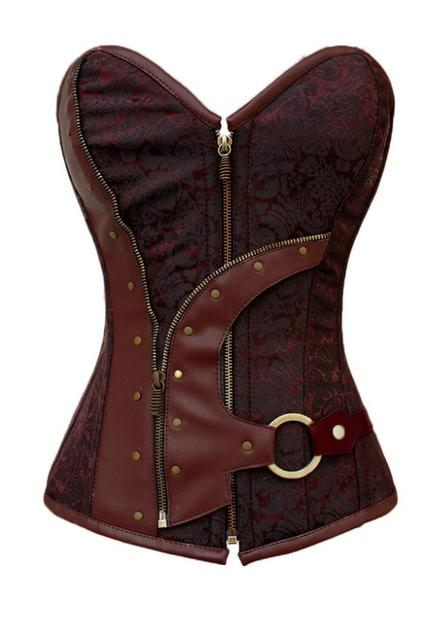 2015 New Fashion Plus Size Brown Brocade Steampunk Corset Zip Lacing Vintage Club Waist Trainer Corset GY5313 Hot Sale
