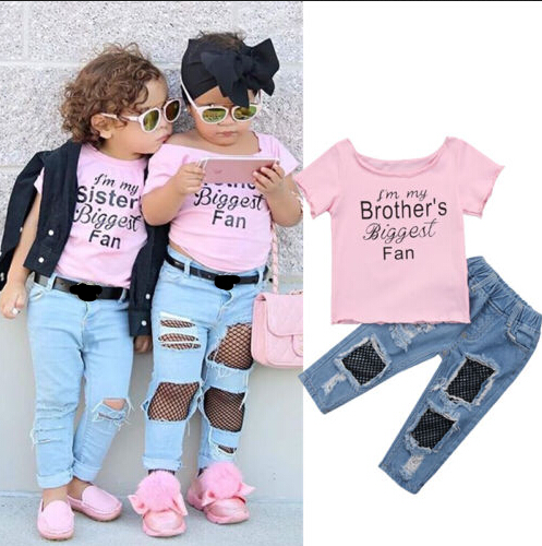 18 Months-5T Toddler Baby Girls Fashion 2pcs Clothes Set Letter Cartoon Print Tops T Shirt Denim Jeans Pants Outfits