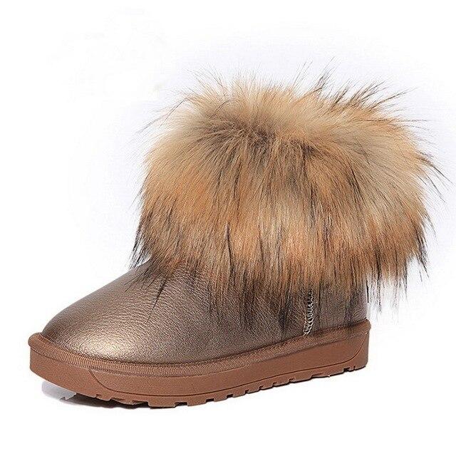 Las Mujeres de la marca Zapatos Botas de Nieve de Moda de Piel Gruesa 2016 Nuevo Invierno Cálido Algodón Zapatos Para Mujeres Botas de Tobillo