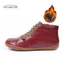 Delle donne di inverno genuino stivali di pelle di pecora molla piatta scarpe casual stivali botas mujer donna a piedi nudi scarpe da ginnastica scarpe stivali