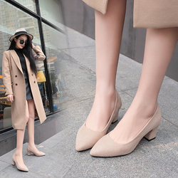 Plus Size 35-43 Women Dress Shoes Square Heeled Pumps Faux Suede Ladies Shoes Pointed Toe Boat Shoes Woman Medium Heeled 5