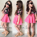 2016 Baby Girls 2Pcs Floral T-Shirt+Solid Red Skirt Summer A-Line Dress Outfits Set 2-7Y