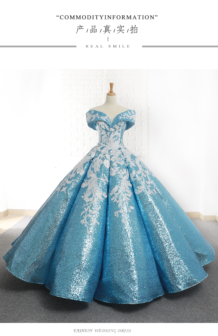 luxury carnival venice gown blue full sequined embroidery wonderland medieval dress Renaissance gown queen Victoria Belle Ball