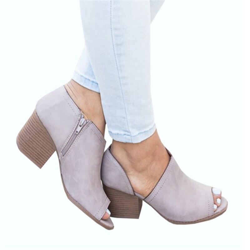 Seksi Bahar Kadın yarım çizmeler Ayakkabı Rahat Deri Vintage Yüksek Kalın Topuklu Burnu açık Antiskid Alt Fermuarlı Bayan Sandalet