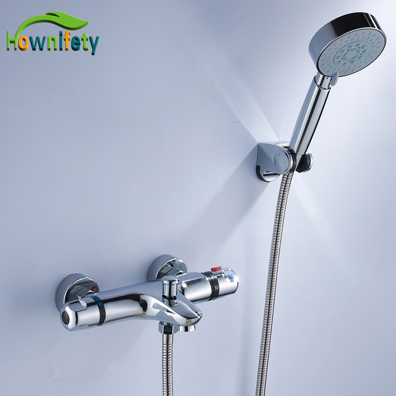 Thermostatic Brass Shower Faucet with ABS Plastic Handheld Shower Wall Mounted Chrome Polished polished chrome wall mount temperature control shower faucet set brass thermostatic mixer valve with handshower