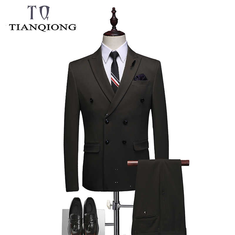 Élégant luxe hommes 2019 Slim Fit hommes costumes avec pantalon Double boutonnage Skinny affaires costumes mariage 3 pièce costume gilet pantalon