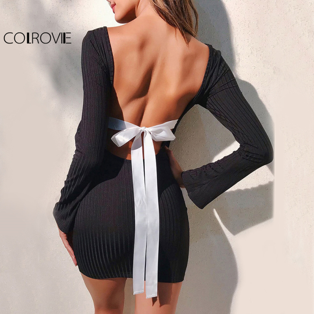 COLROVIE Contrast Bow Tie Backless Sexy Dress 2017 Women Long Sleeve Sexy Ribbed Club Dresses Black Bodycon Slim Hot Mini Dress