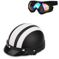 Новые Брендовые мужские и женские винтажные мотоботы открытым лицом Половина скутер шлемы + очки ABS пластик мотоциклов руля очки