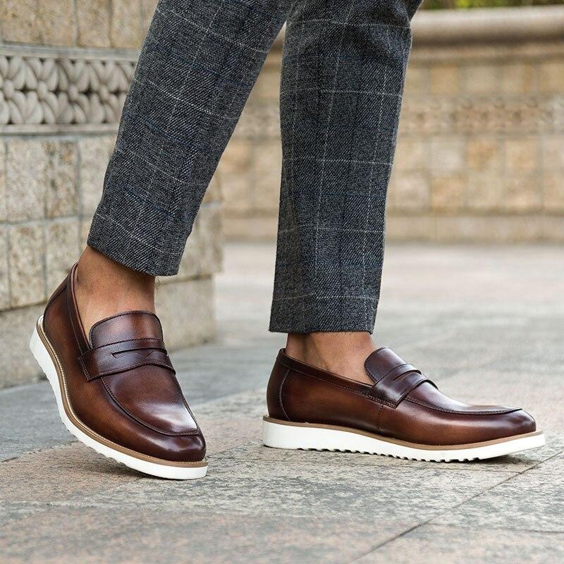 A Hombres Mycoron Genuino marrón Hombres Calzado Los De La Vaca Botas Hombre Sapato Hechos Masculino Moda Zapatos Coffee Mano Casuales Cuero Marca Mocasines wfgWqZwF