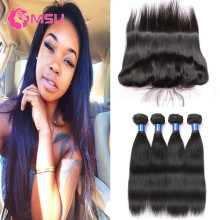 10A Spring Queen Hair with Frontal Closures 3 Bundles Malaysian Virgin Hair Straight with Ear to Ear Full Lace Frontal Closure