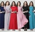 Moda 2015 Senhoras Elegantes Casuais Slim Plus Size Vestuário Islâmico Abaya Muçulmano Vestido Longo Maxi Mulheres vestido de Chiffon 121