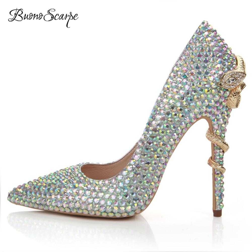 BuonoScarpe Bride Wedding Shoes Female Party Shoes Crystal Brand Design High HeelPumps Metal Snake Heels Rhinestone