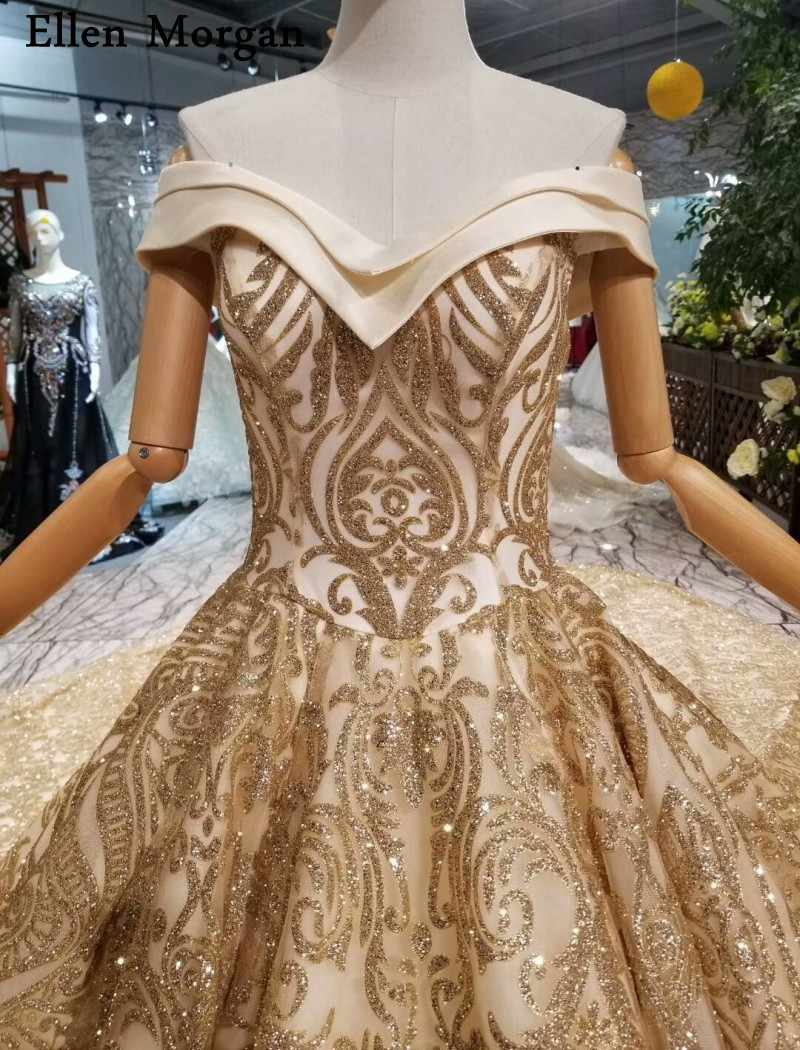 ... Glitter Shiny Gold Ball Gowns Wedding Dresses 2019 Custom Made Real  Photos Off Shoulder Long Train ... d3d4e3cebc23