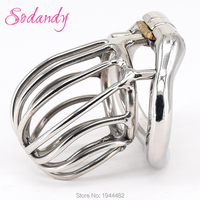 SODANDY 2018 Male Chastity Devices Mens Cock Cage Stainless Steel Penis Restraints Locking Cock Ring with Stealth Locks Sex Toys cock ring locking cock ring steel penis -