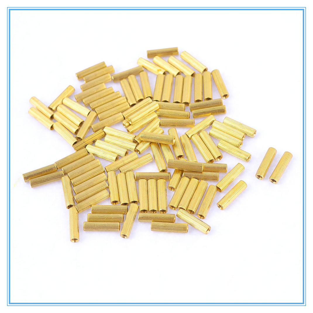 50Pcs copper nuts M2x 2 3 4 <font><b>5</b></font> 6 7 8 9 10 11 12 13 14 15-25mm Cylinder Female Threaded Brass Standoff Spacer Pillars image