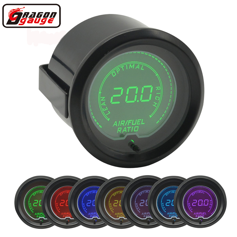 Dragon gauge 52mm 7 Color Backlight LCD Digital Auto Car Apply to Narrow band Oxygen Sensor AIR/FUEL Gauge Meter Free shipping