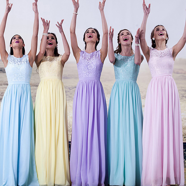 Yellow Light Blue Purple Sky Bridesmaid Dresses Vestido Madrinha Mint Green De Festa